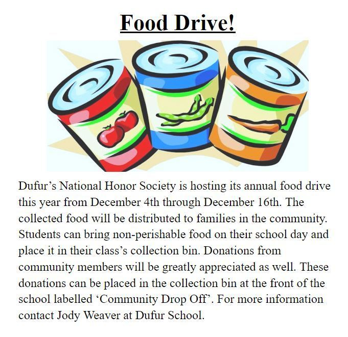 NHS Food Drive Flyer