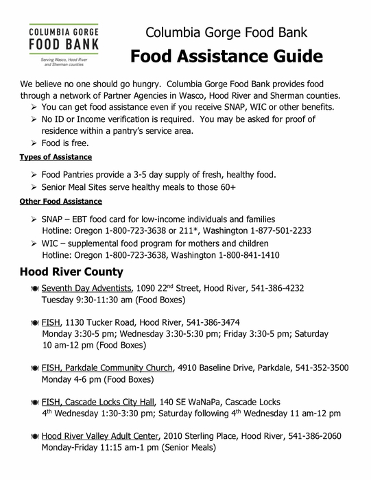 Food Assistance Guide, Page 1