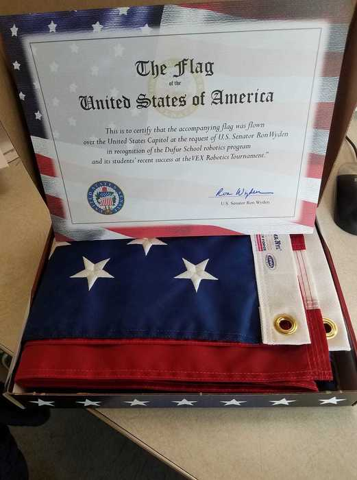 Flag flown over the capital for Dufur robotics.