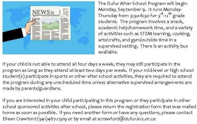 After School Program Announcement